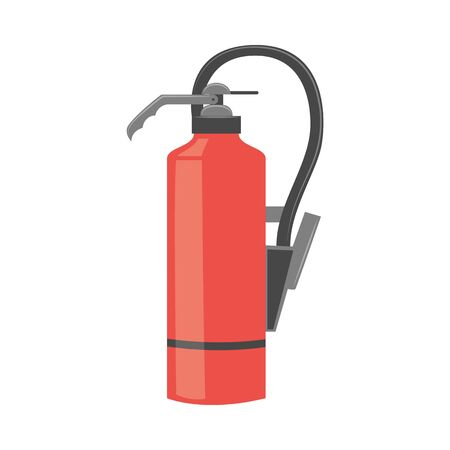 Red color fire extinguisher in flat or cartoon style, vector illustration isolated on white background. Protective fire fighting equipment, safety anti-flame tool Vectores