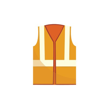 High visibility orange vest in flat or cartoon style, vector illustration isolated on white background. Reflective safety waistcoat, protective construction or road worker equipment