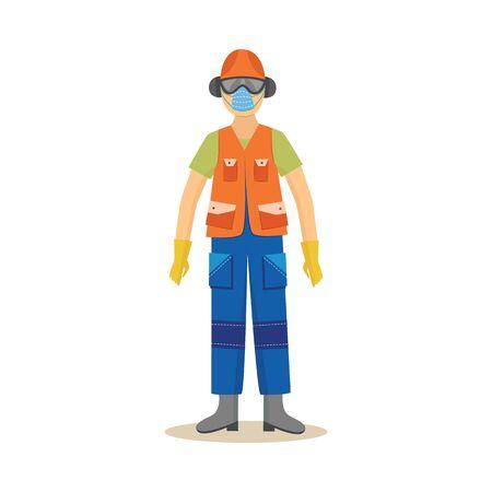 Hombre de pie en estilo de dibujos animados de ropa y equipo de protección industrial, ilustración vectorial aislado sobre fondo blanco. Trabajador de la construcción masculino en ropa de seguridad o protección