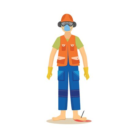 Male construction worker standing with industrial nail in foot cartoon style, vector illustration isolated on white background. Work accident or injury, safety first, insufficient legs equipment