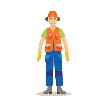 Male construction worker stands with redness and lacrimation eyes cartoon style, vector illustration isolated on white background. Work accident or injury, safety first, insufficient face equipment  イラスト・ベクター素材
