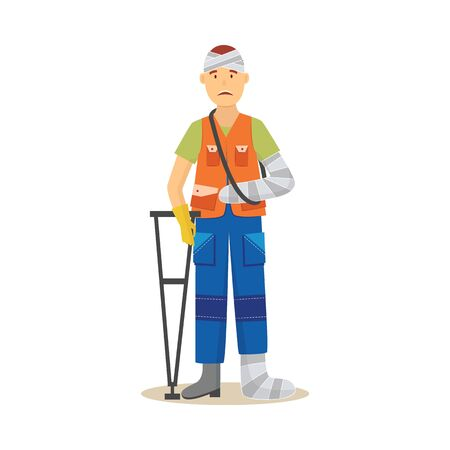Man worker in uniform with foot and hand injury flat vector illustration isolated on white background. Concept of accident and risk at work place or insurance case icon. Illustration