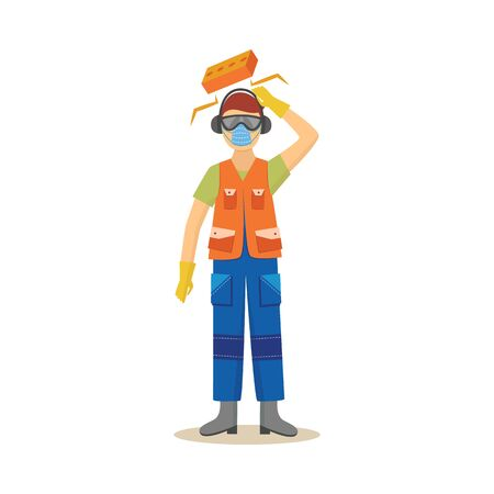 Production worker at the risk of injury at work flat vector illustration isolated on white background. Concept of accident at work place or insurance case icon.