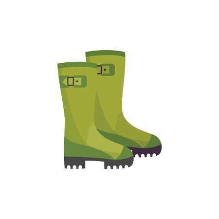 Safety boots of factory or chemical industry worker vector illustration isolated on white background. Shoes protective from acids and oils icon for industrial security.