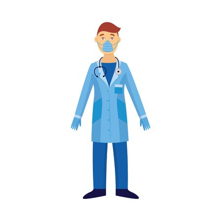 Medical concept a man or doctor in protective suit and virus safety mask standing isolated on white background flat vector illustration. Icon for industrial security project.