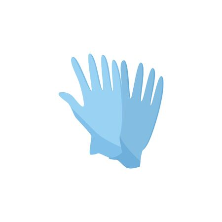 Blue medicine or housekeeping protective latex gloves vector illustration isolated on white background. Concept of industrial security and safety professional workplace.