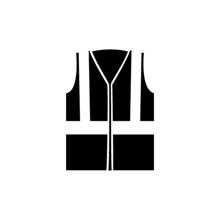 Industrial safety protection road vest with reflective stripes icon in black and white style. Security for industry uniform concept vector illustration isolated on white.