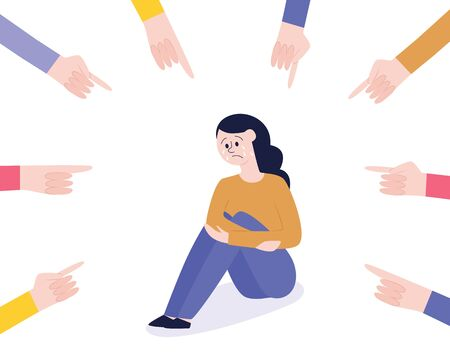 Vector concept of bullying and teenage harassment. Lonely teen girl victim sitting holding knees with sad depressed face with hands pointing to him. Illustration