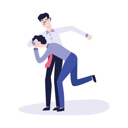Physical bullying and violence between two men or boys, students or office workers. Conflict situation, the situation of bullying and personal violence, flat vector illustration.  イラスト・ベクター素材