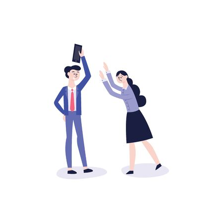 A young man or teenager took a smartphone from the girl and does not give it away. Bulling, violence and conflict between students at school or college, vector flat illustration.