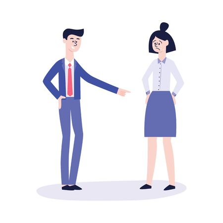 A man in a suit applies social bullying and violence to a woman in the office, shows a finger to the skirt. Conflicting situation of bullying, a man shames a crying girl, flat vector illustration. Ilustração
