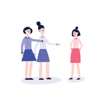 Two girls in shirts and skirts bully another crying girl. Social bullying, the situation of conflict and violence between women, flat vector illustration.