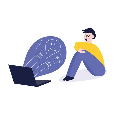 Cyber bullying, a situation of conflict and violence with a frightened man, boy or teenager. Bulling, violence and conflict on the Internet and the web. Vector flat illustration.