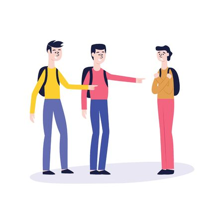 Two men or a teenager with backpacks bully another guy. Social bullying, conflict situation and violence between male students in school or college, flat vector illustration. Foto de archivo - 128171587