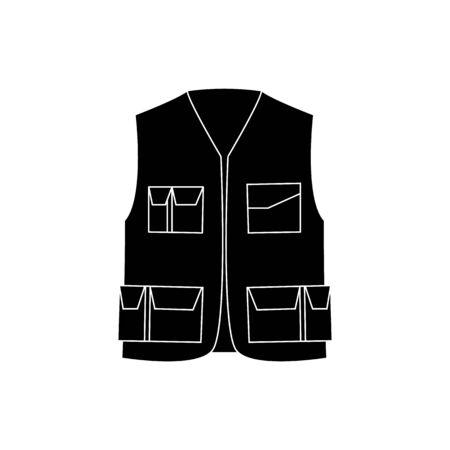 Chaleco de trabajador de protección de seguridad industrial con icono de bolsillos en estilo blanco y negro. Seguridad para la ilustración de vector de concepto uniforme de la industria aislado en blanco.