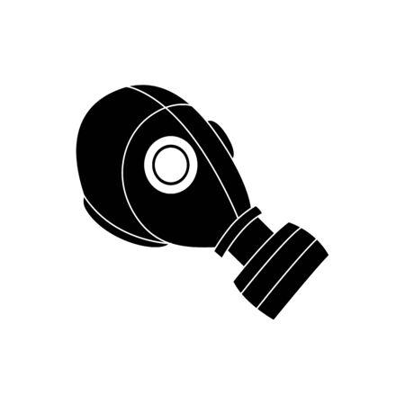 Icône de masque à gaz noir, couvre-chef de protection contre les dangers chimiques avec un respirateur, équipement militaire pour la sécurité contre les rayonnements toxiques et la pollution atmosphérique et la défense contre la guerre, illustration vectorielle isolée sur fond blanc Vecteurs