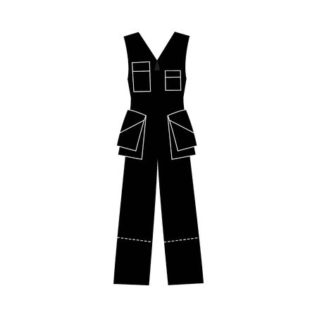 Black jumpsuit icon, work clothing piece for protection and safety. One color simple worker uniform - overalls with big pockets, ?