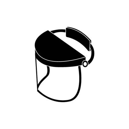 Visiera di sicurezza per la protezione del viso, maschera di protezione del casco in vetro per lavori di saldatura e costruzione, usura della testa in plastica per aree di pericolo, illustrazione di icona di vettore nero isolato su priorità bassa bianca Vettoriali
