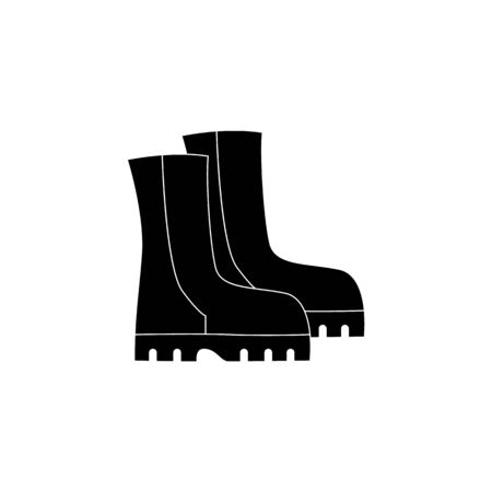 Black work boots isolated on white background. Military or worker safety uniform shoes for feet protection, flat cartoon silhouette of pair of mens hiking shoes, vector illustration.