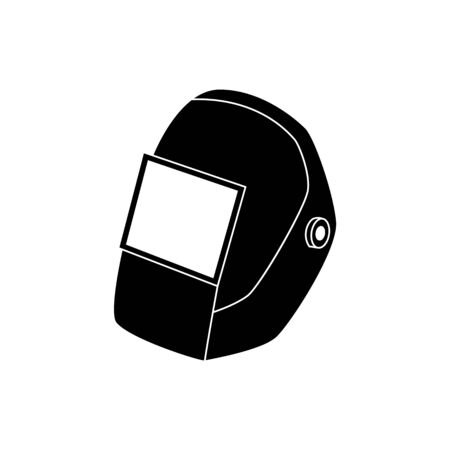 Schwarze Schweißmaske oder Schutzhelmvektorikonenillustration lokalisiert auf weißem Hintergrund. Konzept der industriellen Sicherheit und des professionellen Arbeitsplatzes der Sicherheit.