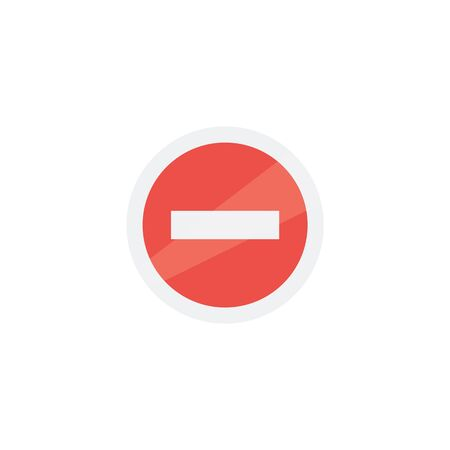 Prohibiting sign icon isolated on white background vector illustration flat red and white design. Concept of industrial security and safety professional workplace.