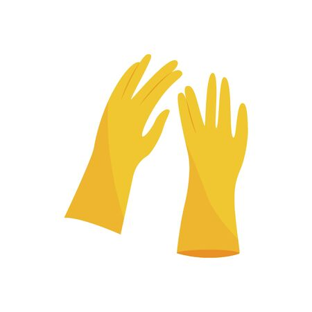 Par de guantes de color amarillo en estilo plano o de dibujos animados, ilustración vectorial aislado sobre fondo blanco. Guantes de goma protectores para limpiar las tareas del hogar o equipos de mano de construcción.