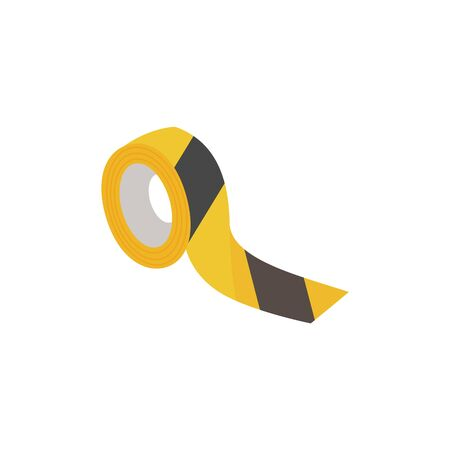 Black and yellow security tape, danger warning caution symbol - plastic roll of striped adhesive for hazardous place or restricted zone - vector illustration isolated on white background.