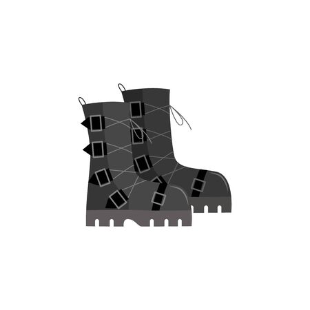 Grey black punk rock shoes, soldier combat boots with edgy buckles, goth footwear fashion design, isolated vector illustration on white background
