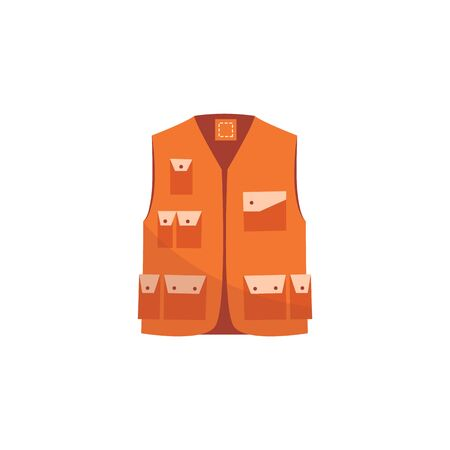 Orange safety jacket, reflective work uniform vest for worker visibility. Cartoon style isolated construction clothes for drivers and builders, vector illustration on white background