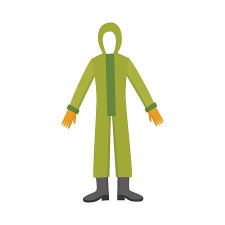 Combinaison intégrale de sécurité chimique, protection contre les radiations vertes et costume de danger de pollution dangereuse pour les travailleurs de l'environnement à risque biologique, illustration vectorielle isolée à plat sur fond blanc.