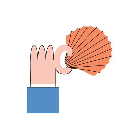Vector business man hand in suit holding shell icon. Symbol of barter trading system and natural economic society. Ancient exchange element, Isolated illustration Illustration