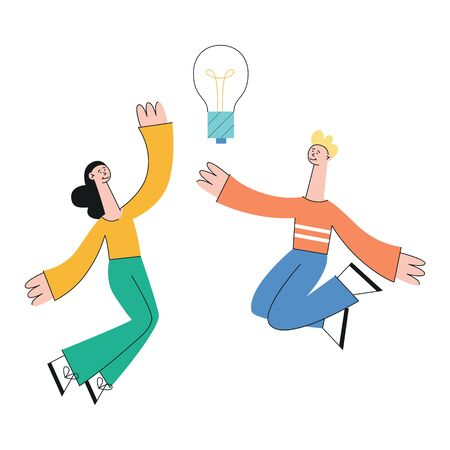 A young couple of students or office workers, a guy and a girl, jumping against the background of a glowing lamp. An idea comes to the redhead man and a brunette woman, vector flat illustration.