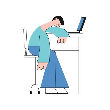 A young brunet male student, office worker or freelancer sits at a table with a laptop and sleeps, isolated flat vector illustration.