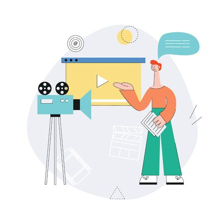 Red haired young man in pants and a sweater is involved in the shooting of the video with camera. Video and internet marketing concept. Isolated vector flat illustration on white background.