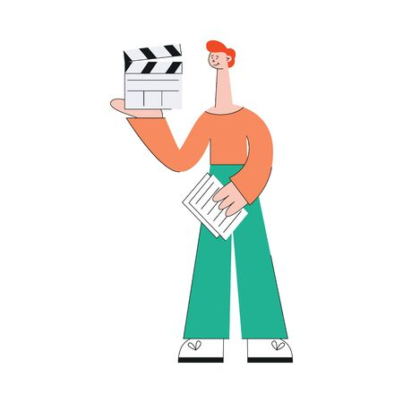 A young caucasian red haired man in pants and a sweater is involved in the shooting of the video, standing with a clapperboard in his hands. Video marketing web concept, vector flat illustration. Illustration