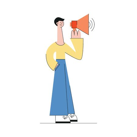 Young caucasian male brunette in pants and sweater stands with a loudspeaker in his hands. Video marketing web concept, shooting a movie or video. Isolated vector illustration on white background. Ilustracja