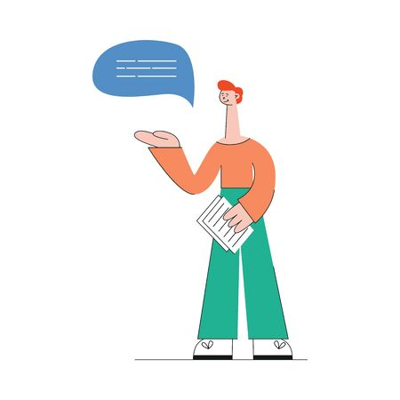 A young caucasian red haired man in pants and a sweater stands with text in his hands. Video marketing web concept, isolated vector flat illustration on white background.