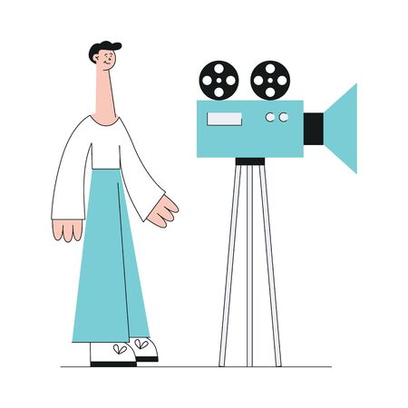 Young caucasian brunet man stands in pants and sweater in flat style. A man makes a video or movie with the camera. Video marketing web concept, vector flat illustration.