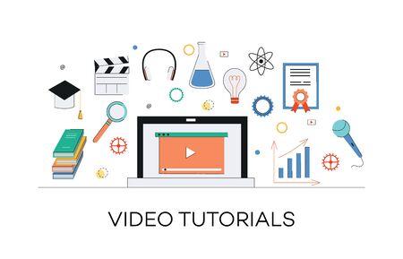 Concepto de tutoriales de marketing en vídeo e internet. Aprendizaje de medios, educación web a través de video marketing en Internet y tutoriales. Portátil con icono de reproducción y otros elementos multimedia, ilustración plana vectorial. Ilustración de vector
