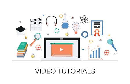 Video and internet marketing tutorials concept. Media learning, web education through internet video marketing and tutorials. Laptop with play icon and other media elements, vector flat illustration. Banque d'images - 126764349
