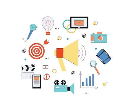 Concept web de marketing vidéo avec haut-parleur, appareil photo, tablette et éléments multimédias. Illustration vectorielle plane isolée