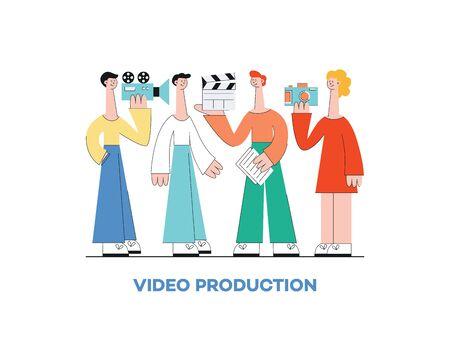 Koncepcja produkcji marketingu wideo z grupą ludzi, mężczyzny, kobiety i kamery, płaskie ilustracji wektorowych. Ilustracje wektorowe