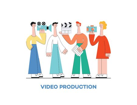 Video marketing production concept with group of people, man, woman and camera, vector flat illustration.