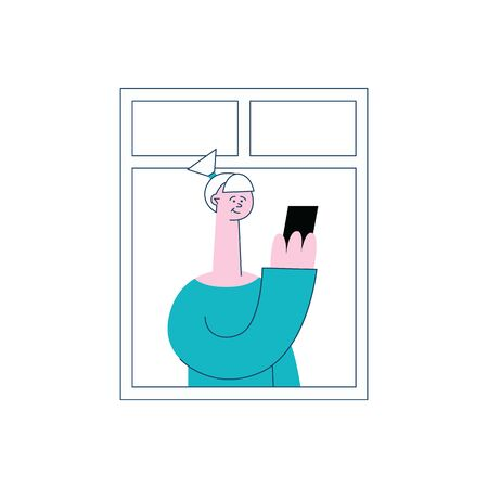 A woman stands near the window, looking at her phone. A vector illustration.