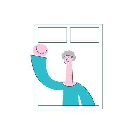 Vector angry young man with irritated facial expression waving fists looking out of the window. Male unhappy character and threatening gesture. Frustrated neighbour illustration