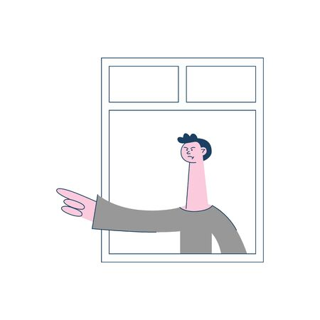 Vector angry young man with irritated facial expression pointing out by index finger looking out of the window. Male unhappy character and threatening gesture. Frustrated neighbour illustration