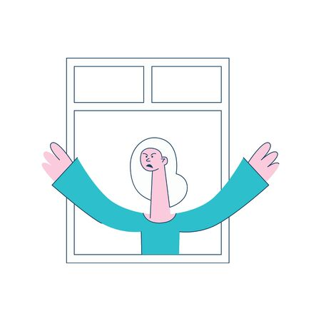 A woman stands at the open window, with angry and dissatisfied face. Vector flat illustration. Stock Illustratie