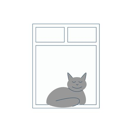 Gray cat sits and sleeps by the open window. vector flat illustration of the animal. Ilustracja