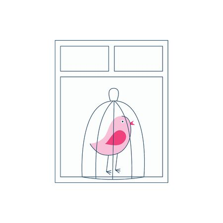 A pink bird in a cage stands by the window.Vector flat illustration. Stock Illustratie