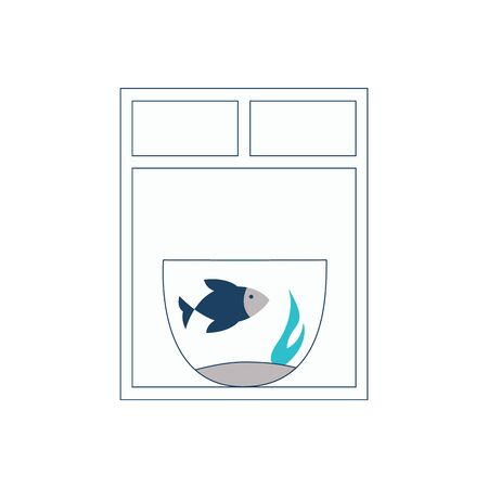Aquarium with a floating blue fish is at the window- vector illustration.